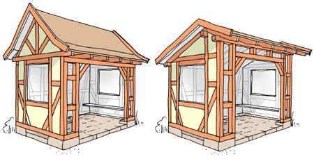 Bushaltestelle warteh uschen fachwerk mit lehmsteinen for Fachwerkhaus konstruktion